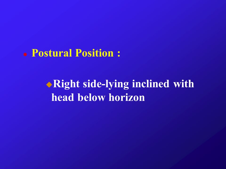 Postural Position : Right side-lying inclined with head below horizon