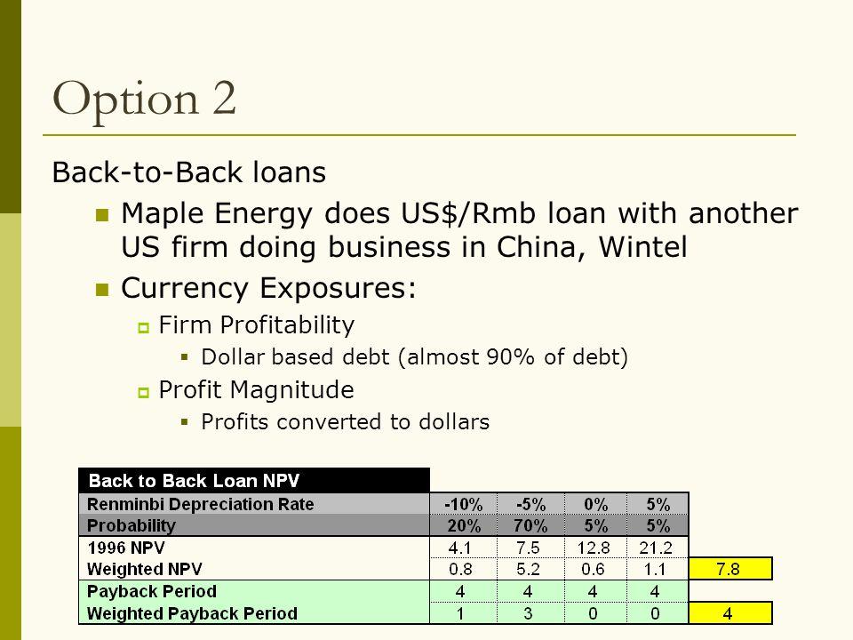 Option 2 Back-to-Back loans
