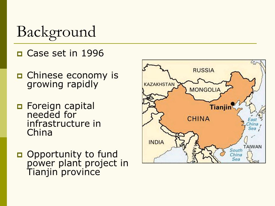 Background Case set in 1996 Chinese economy is growing rapidly