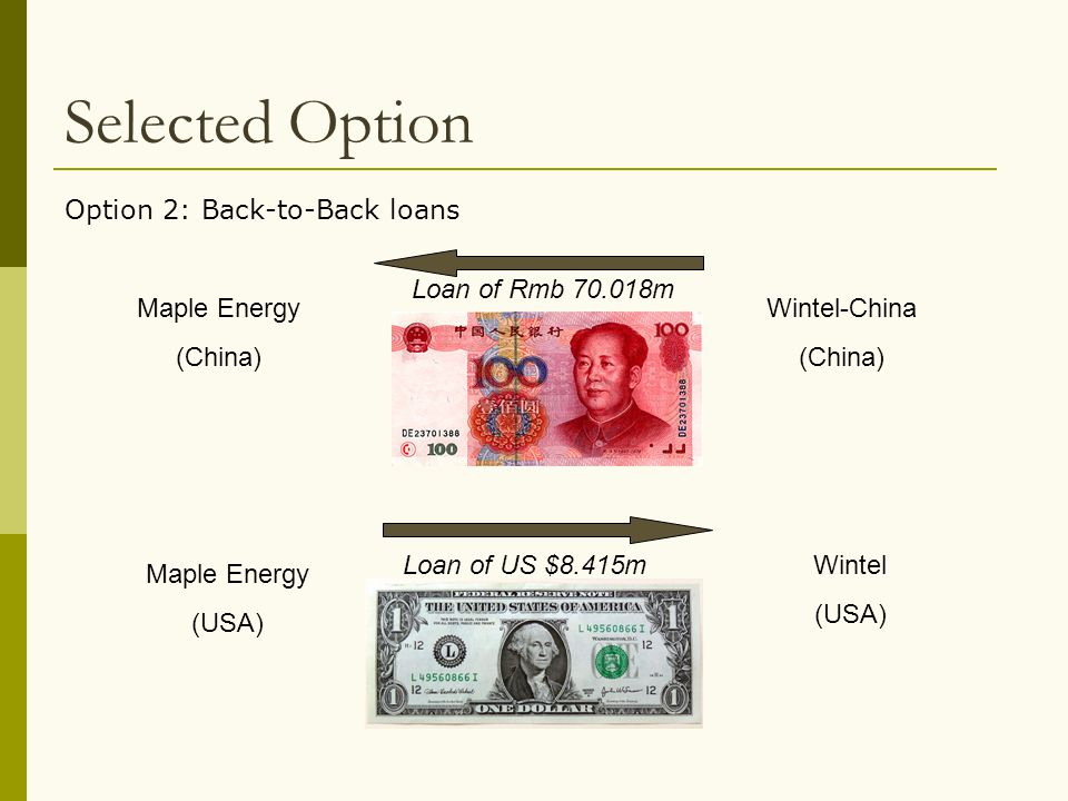 Selected Option Option 2: Back-to-Back loans Loan of Rmb 70.018m