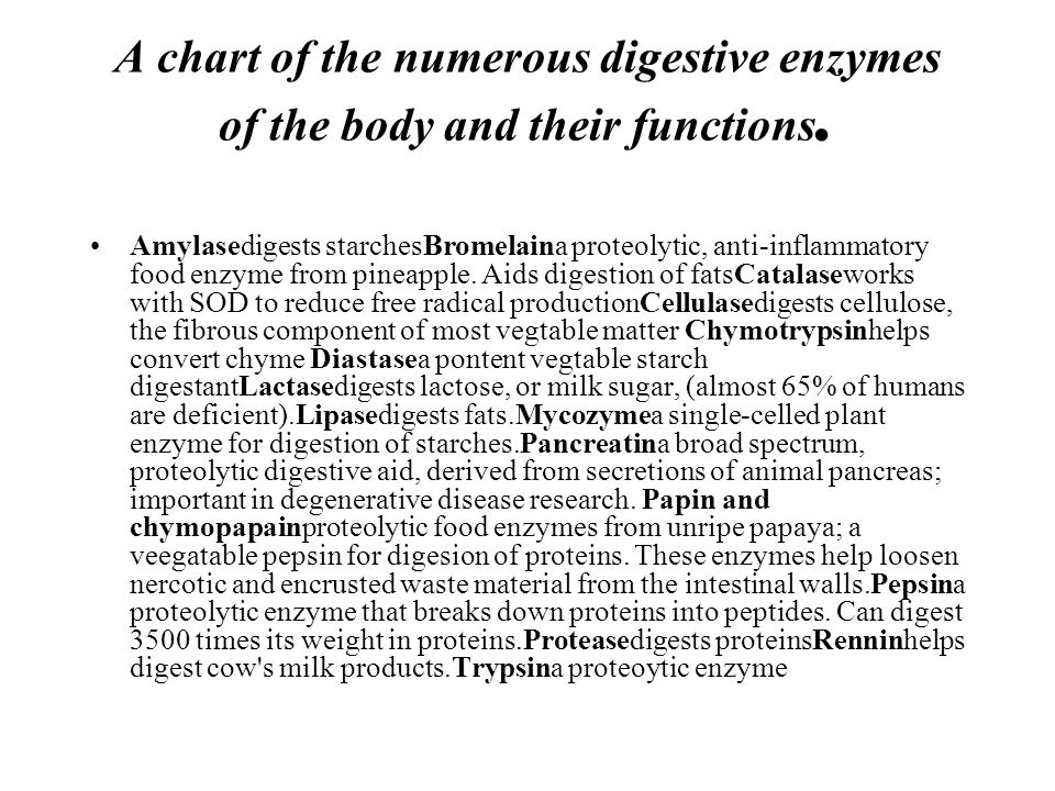 A chart of the numerous digestive enzymes of the body and their functions.