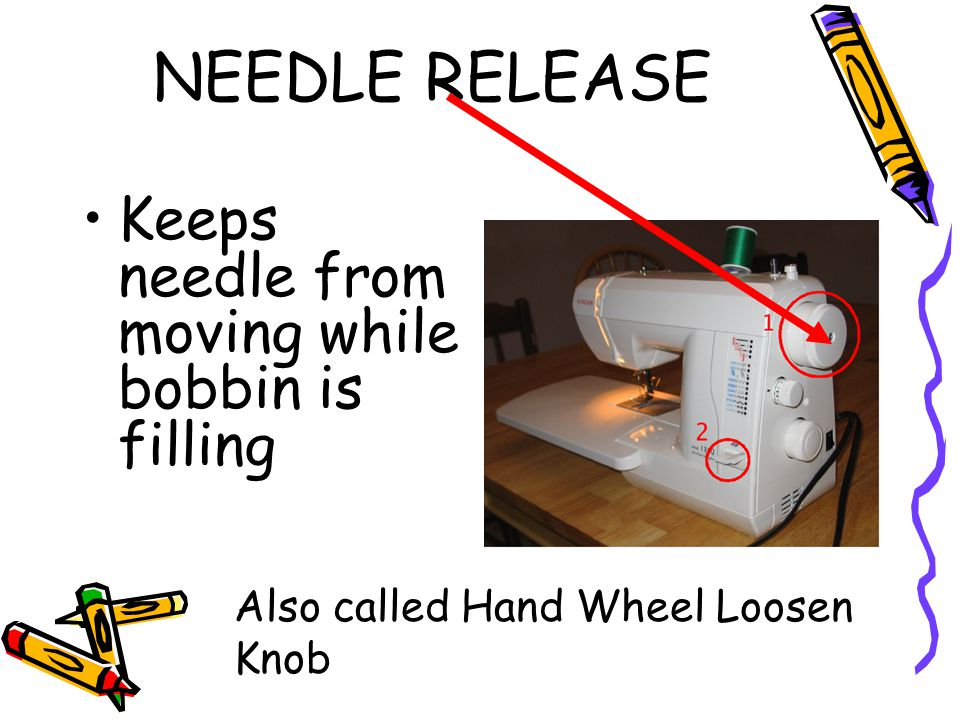 NEEDLE RELEASE Keeps needle from moving while bobbin is filling
