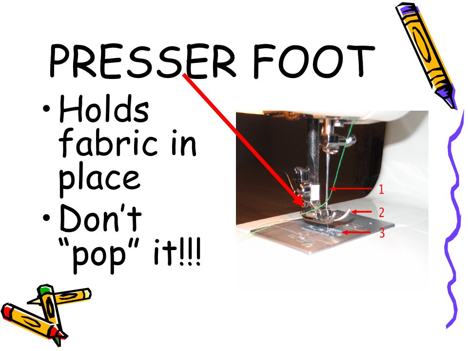 PRESSER FOOT Holds fabric in place Don't pop it!!!