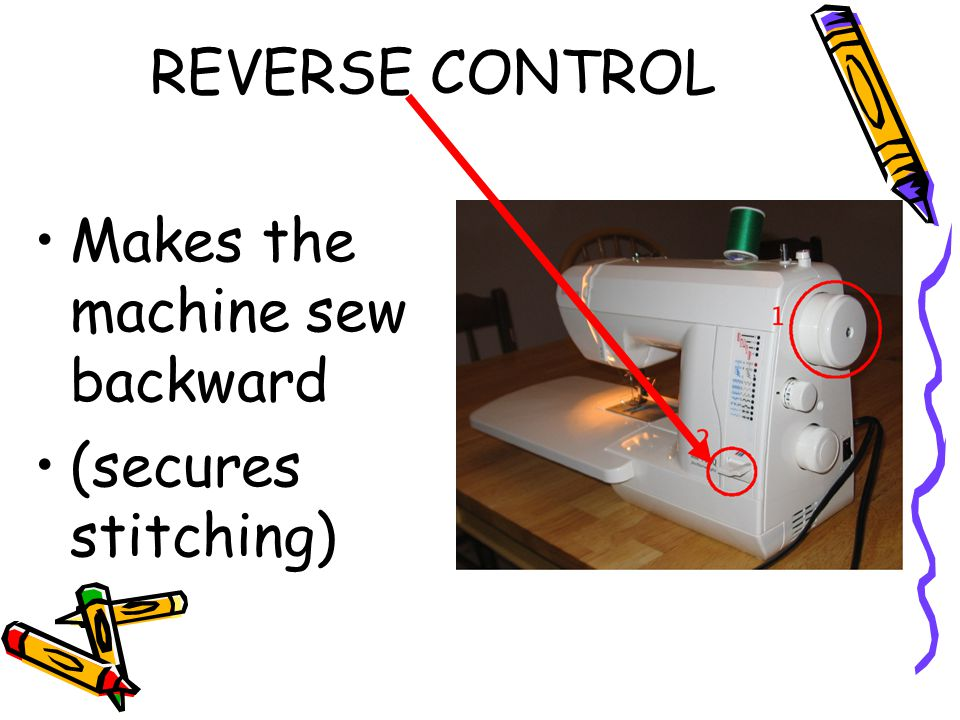 REVERSE CONTROL Makes the machine sew backward (secures stitching)