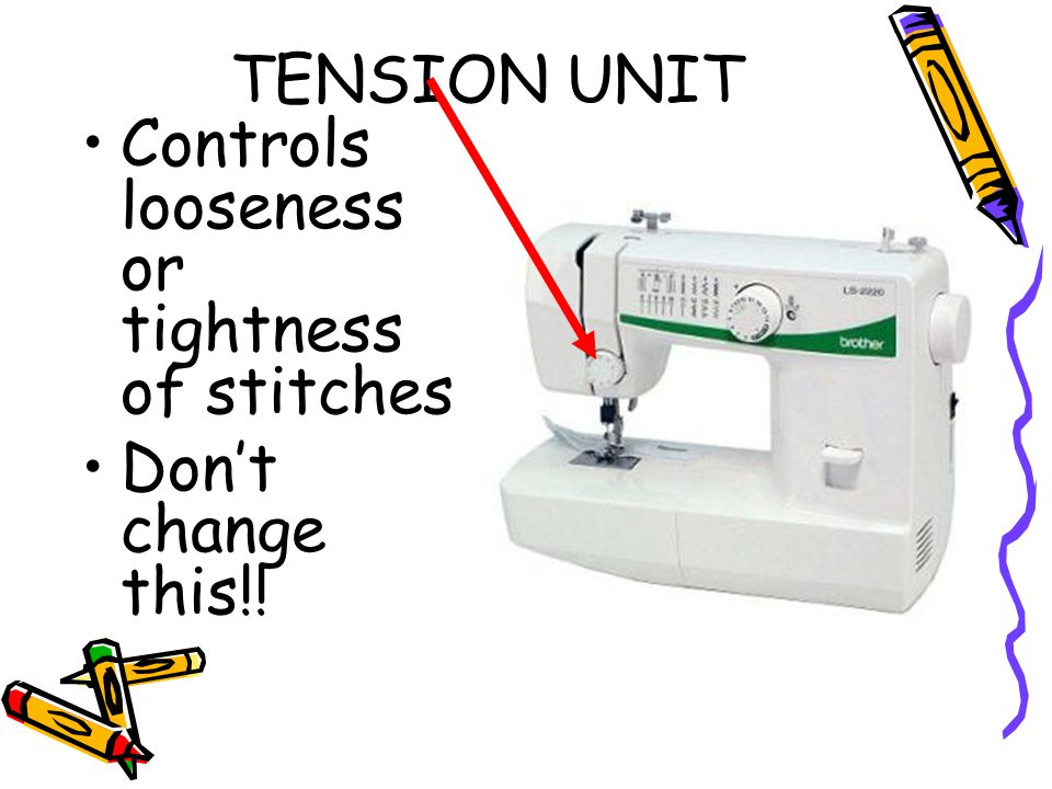 TENSION UNIT Controls looseness or tightness of stitches Don't change this!!