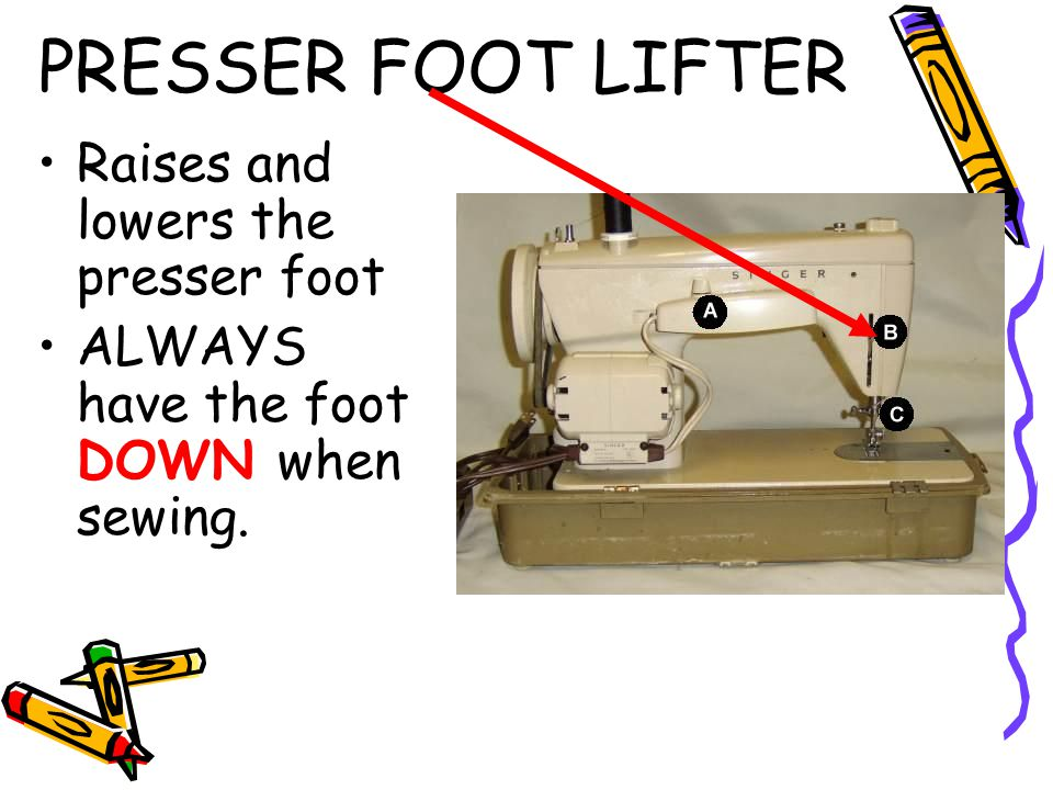 PRESSER FOOT LIFTER Raises and lowers the presser foot