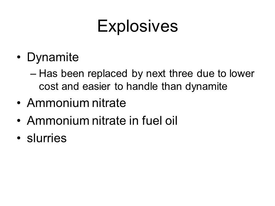 Explosives Dynamite Ammonium nitrate Ammonium nitrate in fuel oil