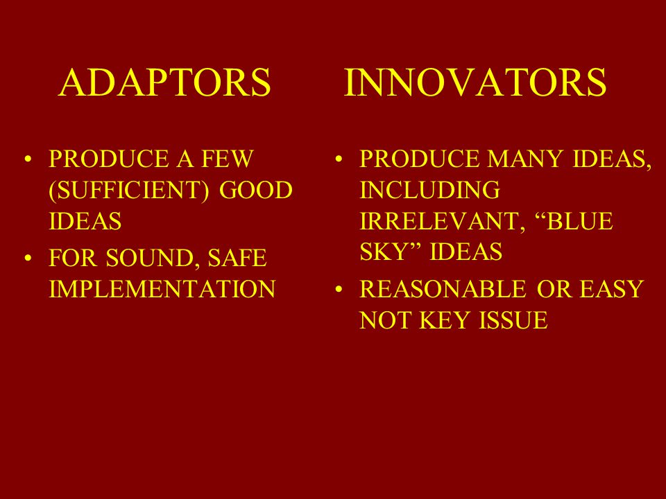 ADAPTORS INNOVATORS PRODUCE A FEW (SUFFICIENT) GOOD IDEAS