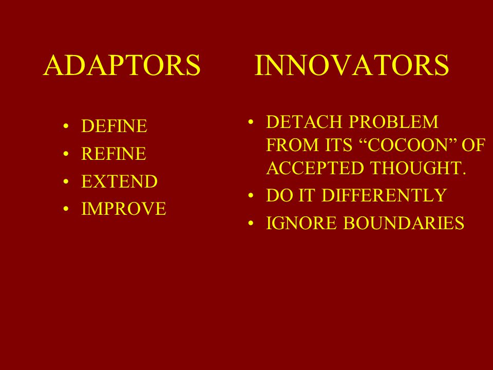 ADAPTORS INNOVATORS DETACH PROBLEM FROM ITS COCOON OF ACCEPTED THOUGHT. DO IT DIFFERENTLY.