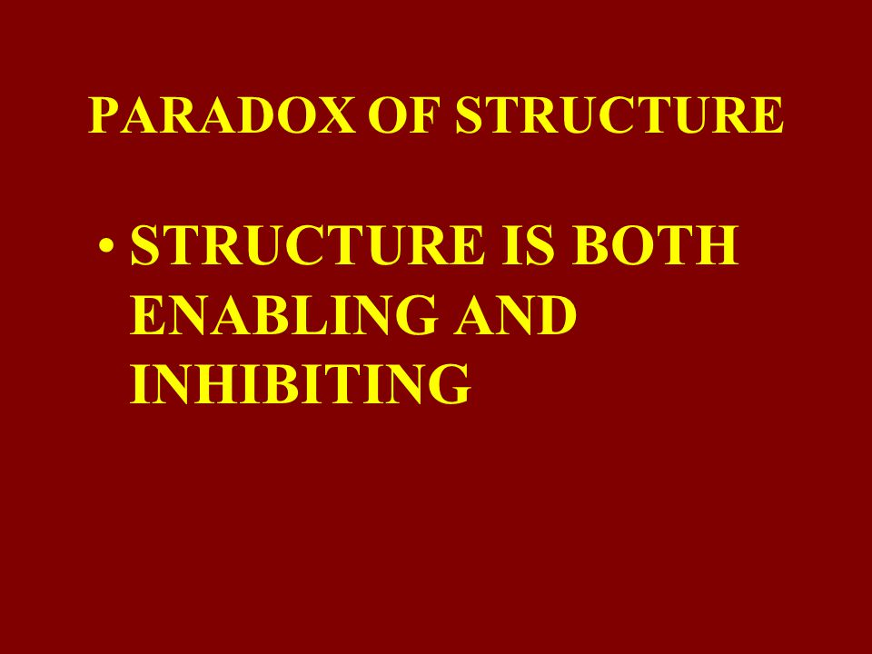 STRUCTURE IS BOTH ENABLING AND INHIBITING
