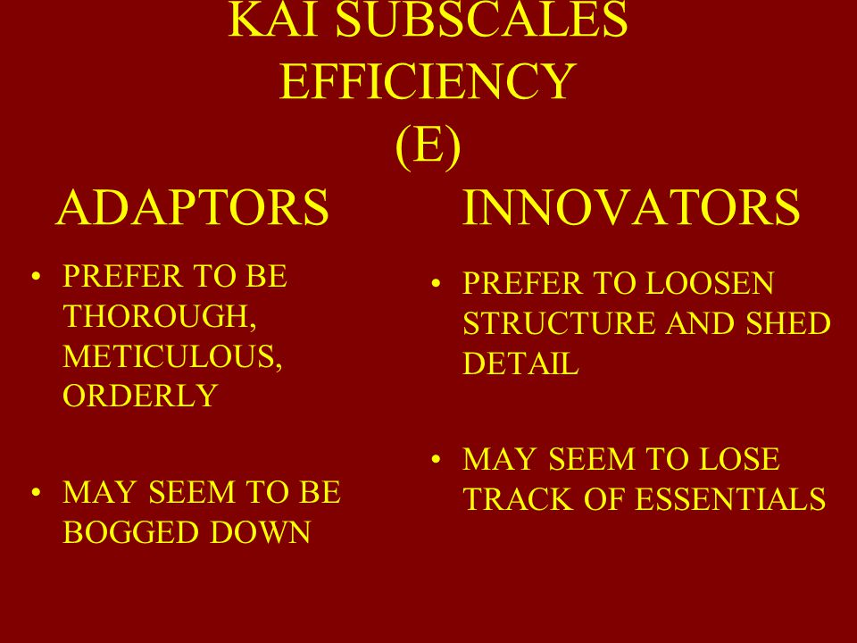 KAI SUBSCALES EFFICIENCY (E) ADAPTORS INNOVATORS