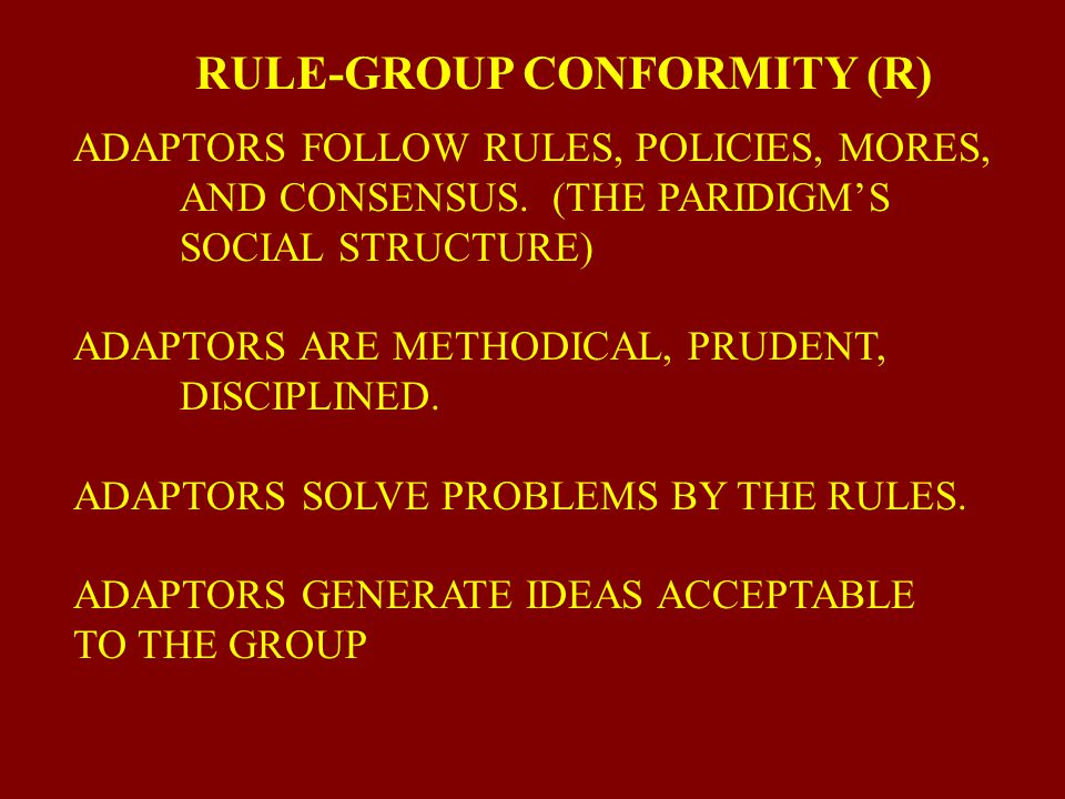 RULE-GROUP CONFORMITY (R)