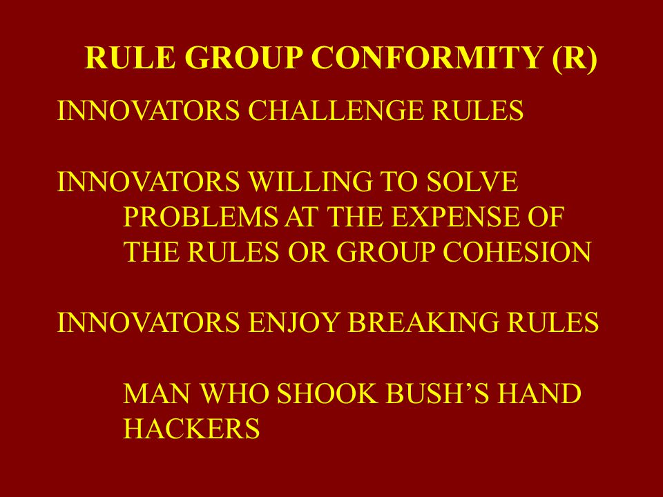 RULE GROUP CONFORMITY (R)