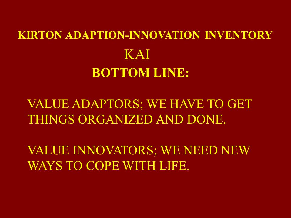 KIRTON ADAPTION-INNOVATION INVENTORY
