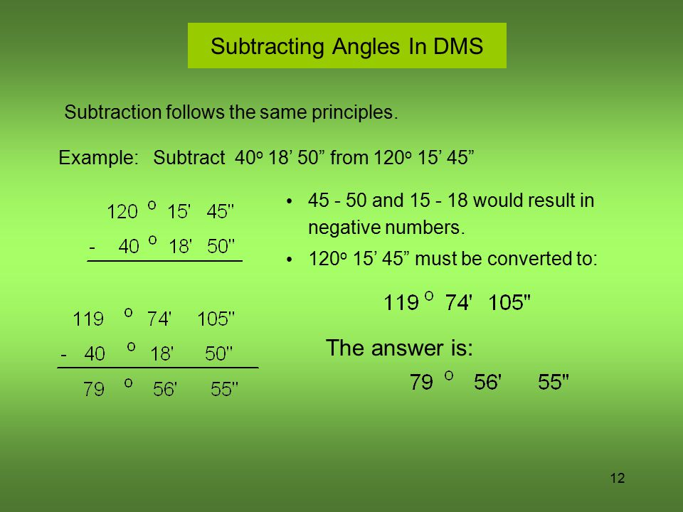 Subtracting Angles In DMS