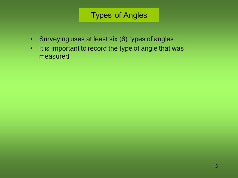 Types of Angles Surveying uses at least six (6) types of angles.