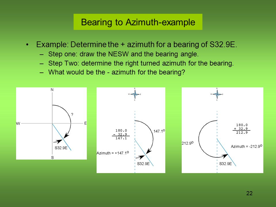 Bearing to Azimuth-example