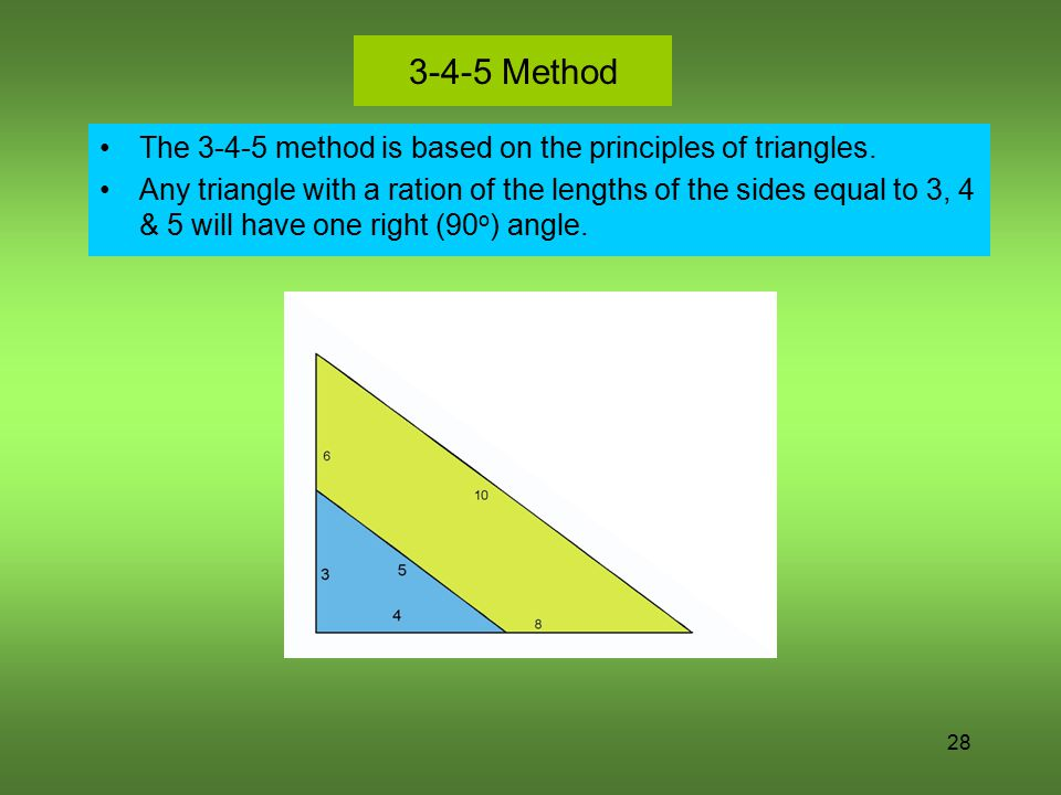 3-4-5 Method The 3-4-5 method is based on the principles of triangles.