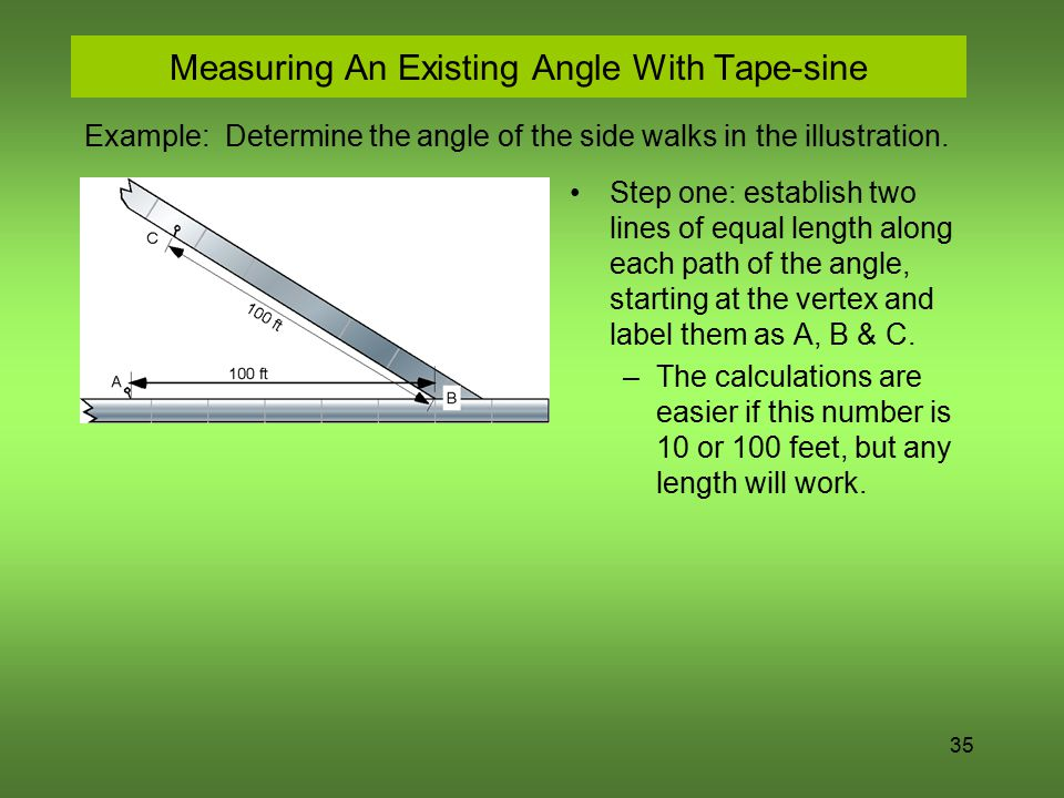 Measuring An Existing Angle With Tape-sine