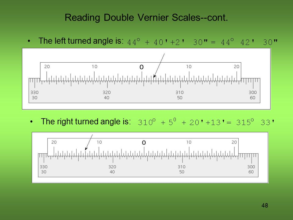 Reading Double Vernier Scales--cont.