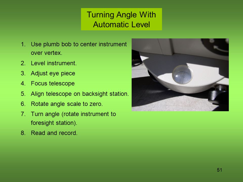 Turning Angle With Automatic Level