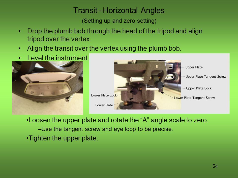 Transit--Horizontal Angles (Setting up and zero setting)