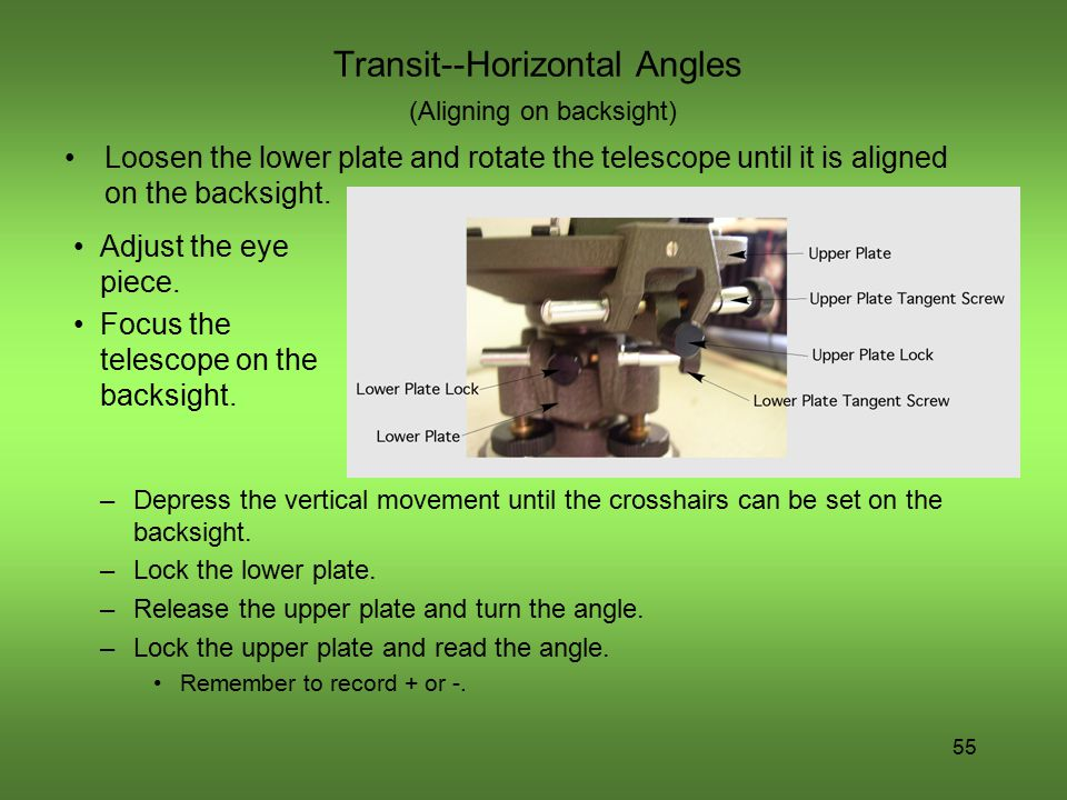 Transit--Horizontal Angles (Aligning on backsight)