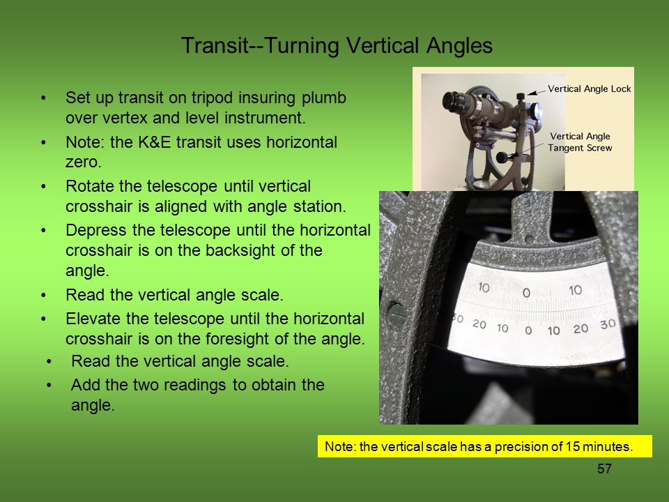 Transit--Turning Vertical Angles