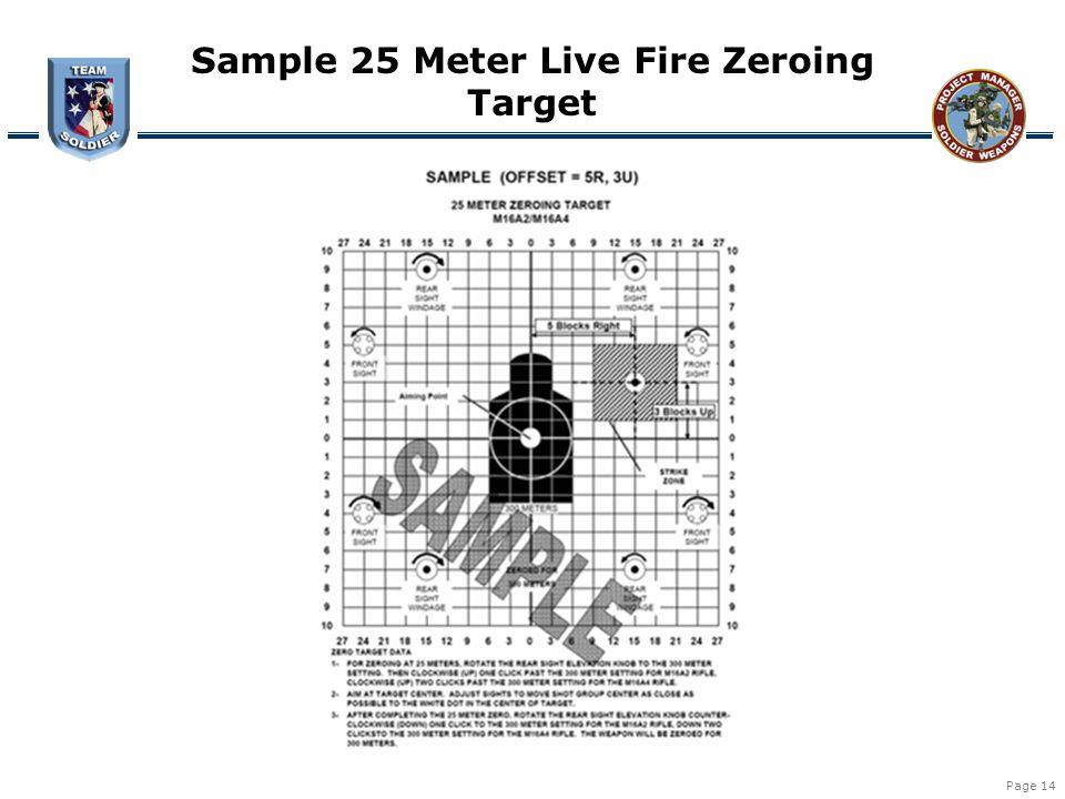 Sample 25 Meter Live Fire Zeroing Target