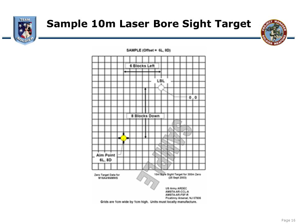 Sample 10m Laser Bore Sight Target