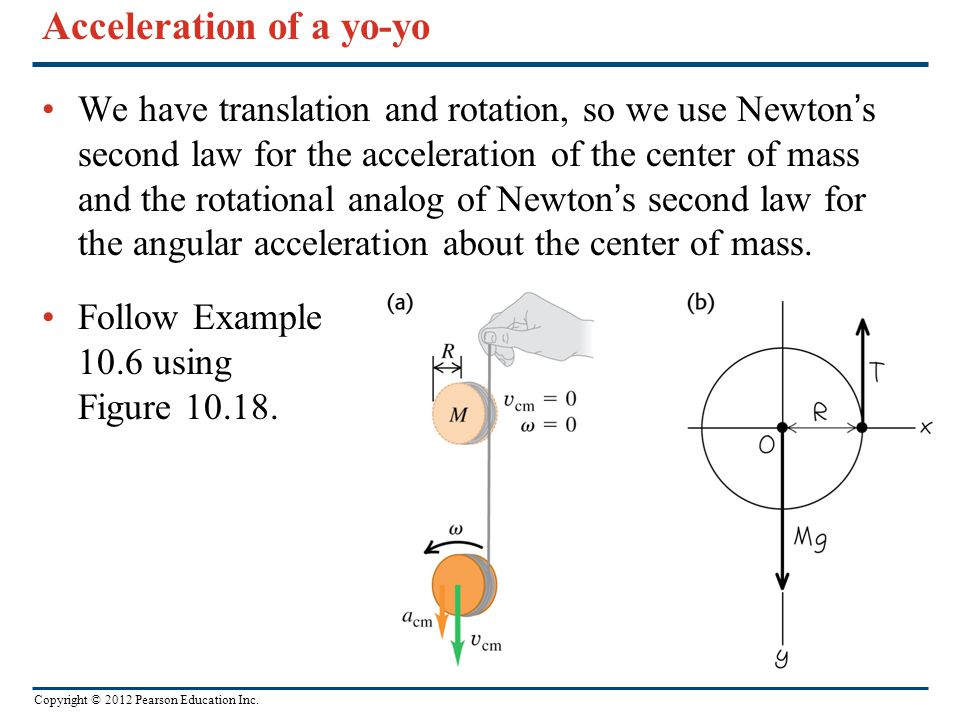 Acceleration of a yo-yo