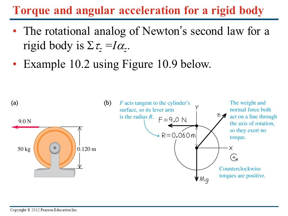 Torque and angular acceleration for a rigid body