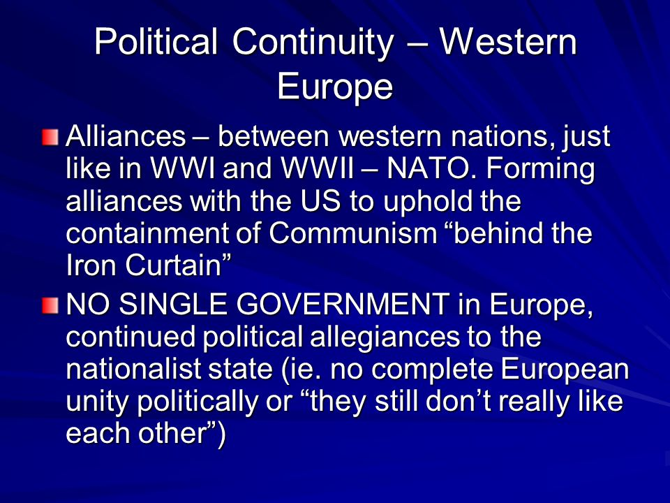 Political Continuity – Western Europe