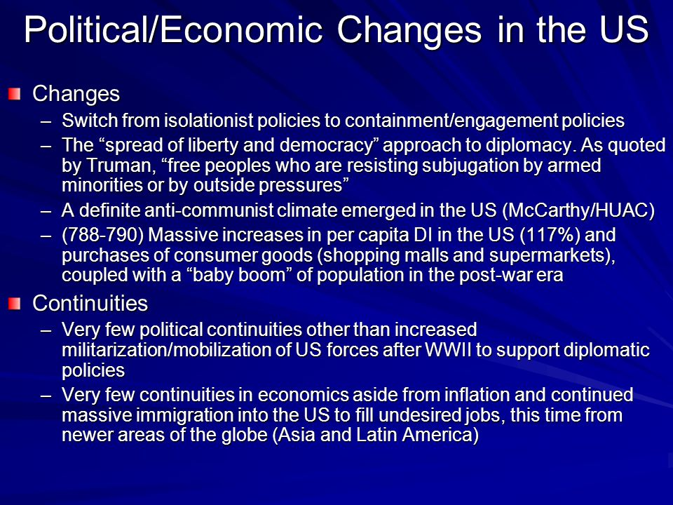 Political/Economic Changes in the US