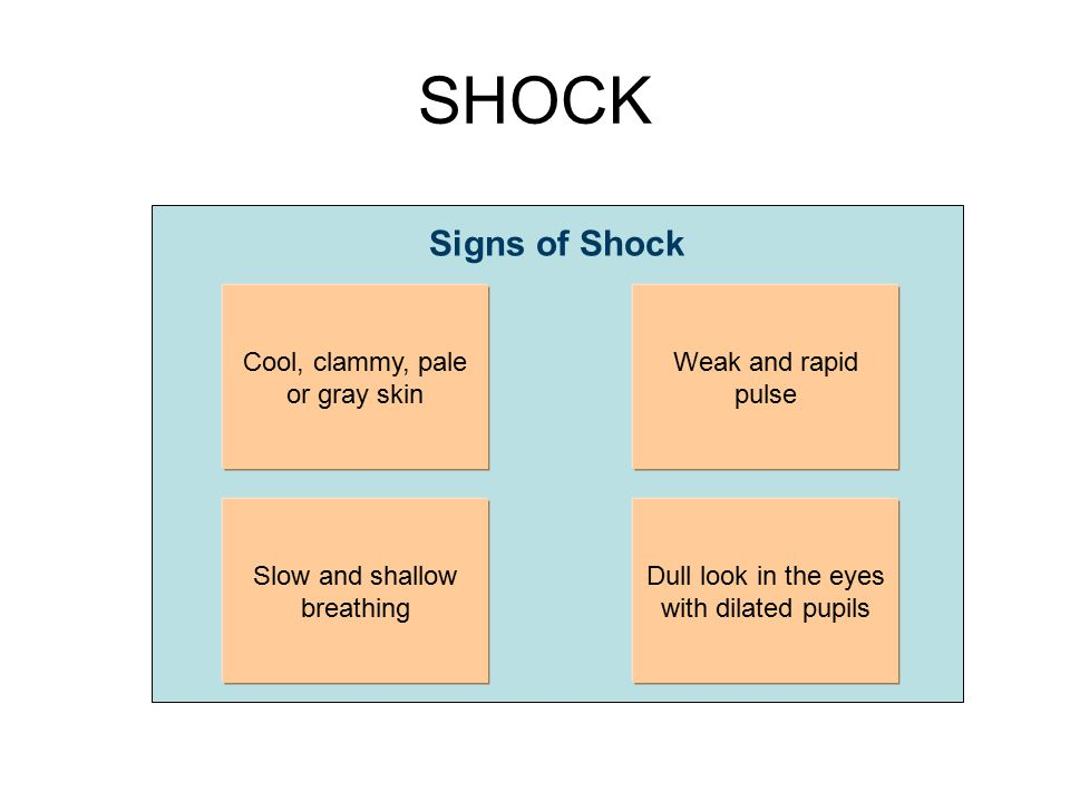 SHOCK Signs of Shock Cool, clammy, pale or gray skin