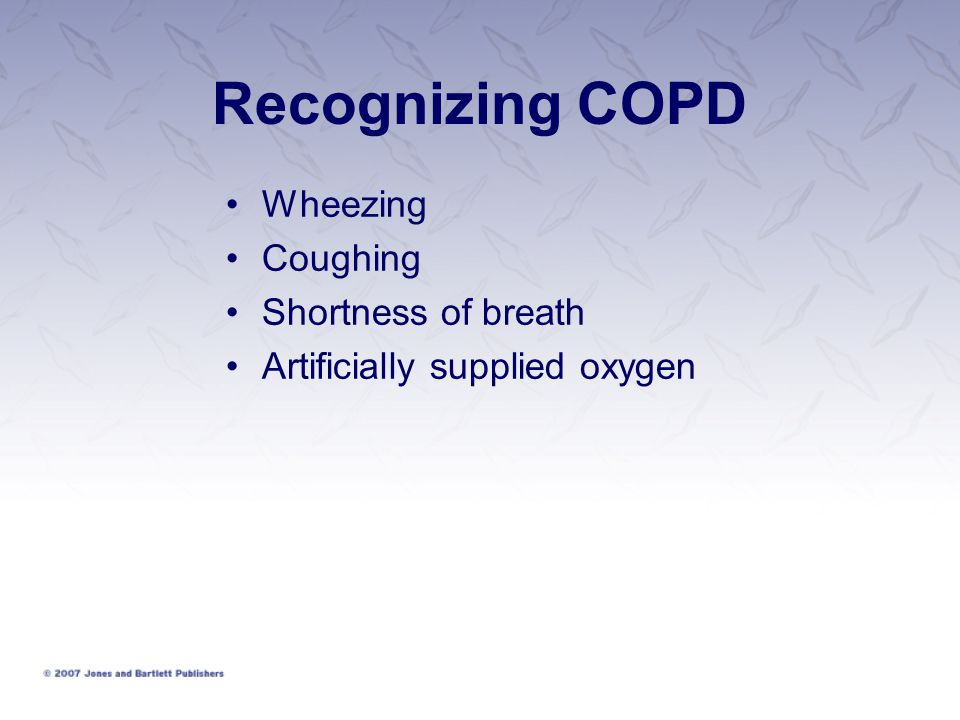 Recognizing COPD Wheezing Coughing Shortness of breath