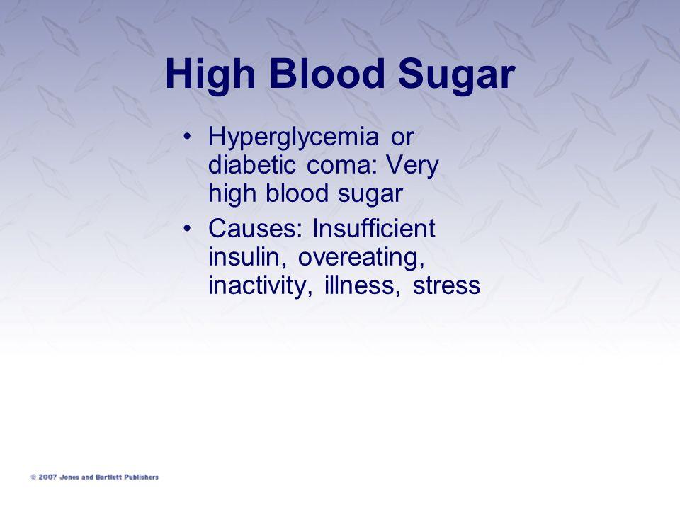 High Blood Sugar Hyperglycemia or diabetic coma: Very high blood sugar