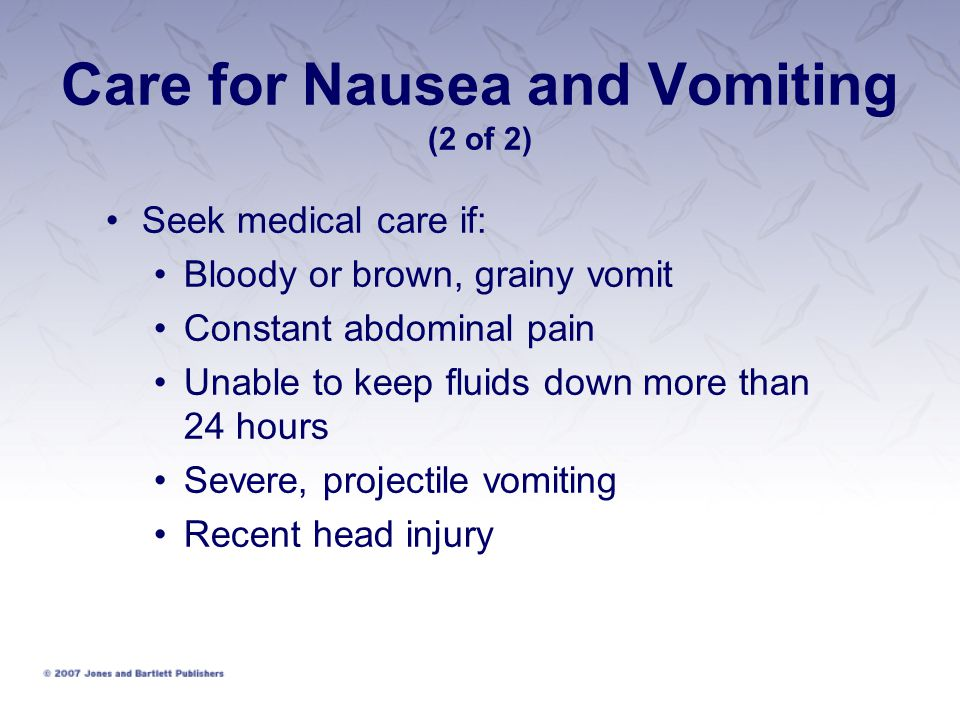 Care for Nausea and Vomiting (2 of 2)