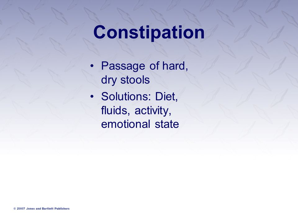 Constipation Passage of hard, dry stools