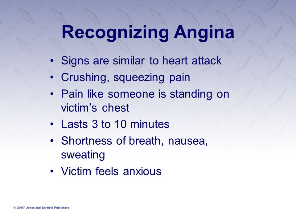 Recognizing Angina Signs are similar to heart attack