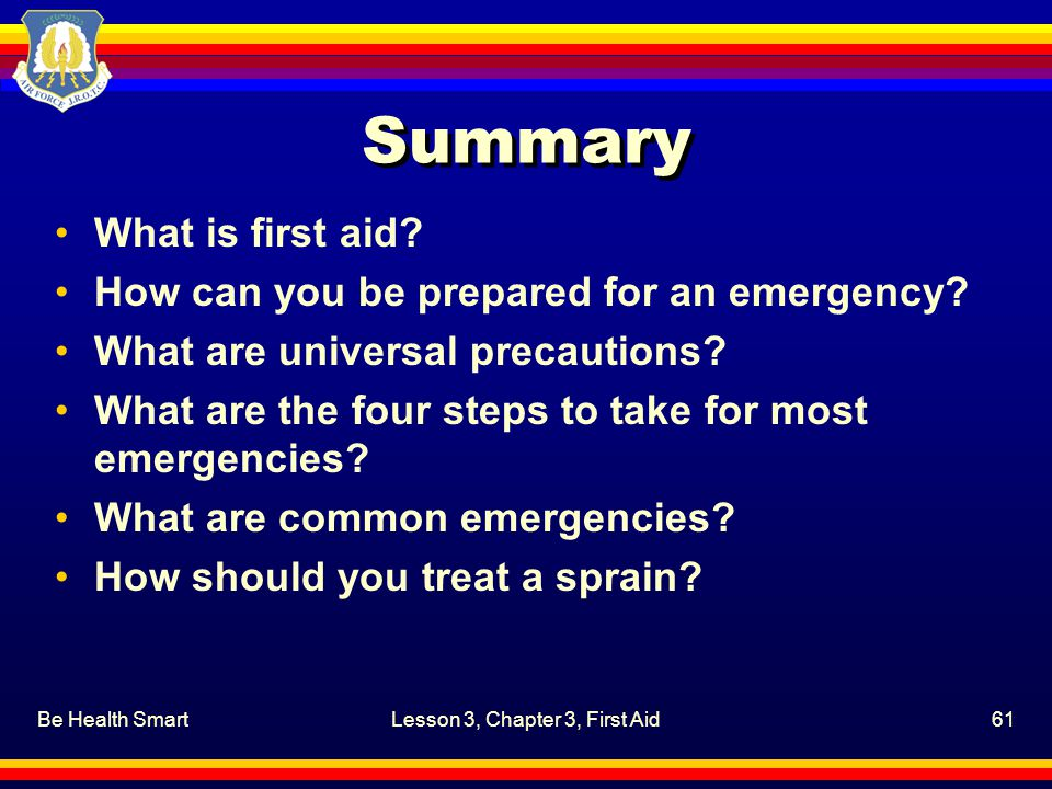 Lesson 3, Chapter 3, First Aid