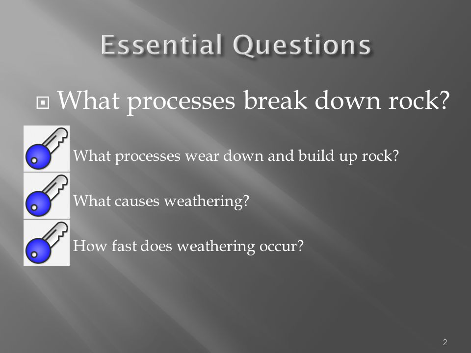 Essential Questions What processes break down rock