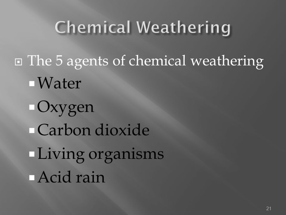 Chemical Weathering Water Oxygen Carbon dioxide Living organisms