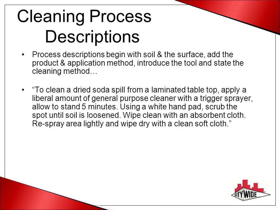 Cleaning Process Descriptions