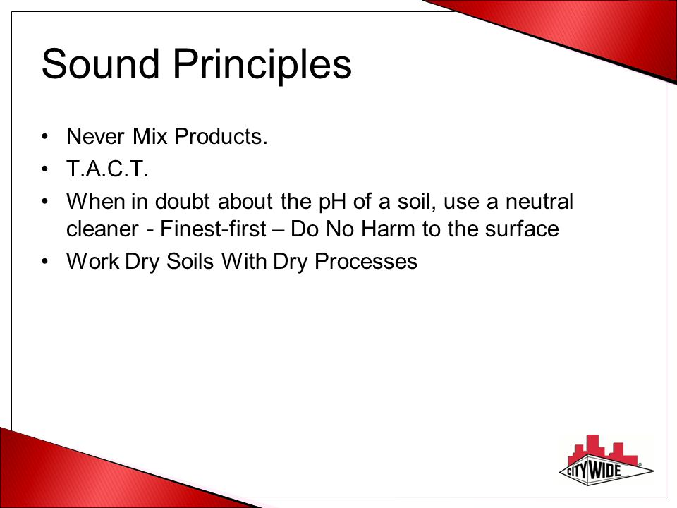 Sound Principles Never Mix Products. T.A.C.T.