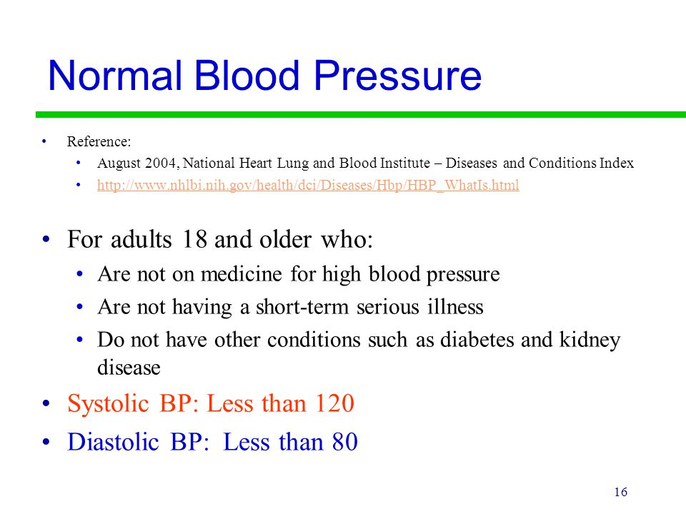 Normal Blood Pressure For adults 18 and older who: