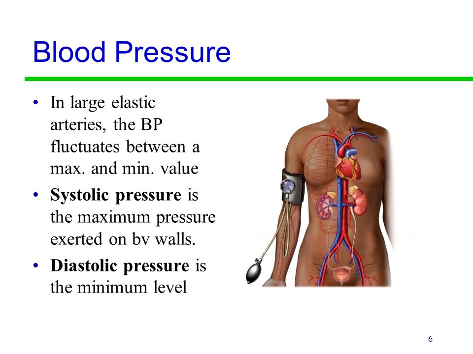 Blood Pressure In large elastic arteries, the BP fluctuates between a max. and min. value.