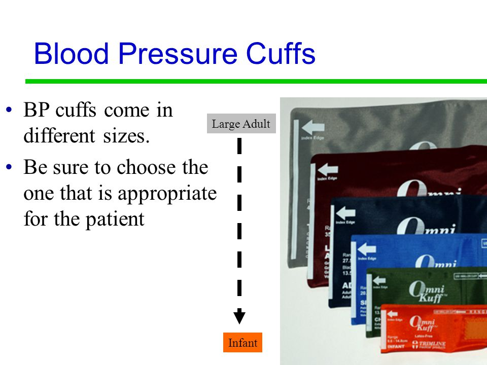 Blood Pressure Cuffs BP cuffs come in different sizes.