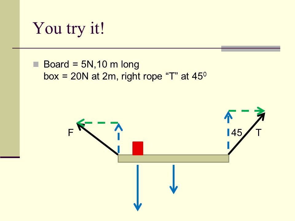 You try it. Board = 5N,10 m long box = 20N at 2m, right rope T at 450.