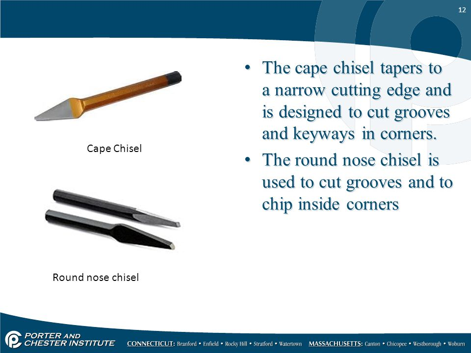 The cape chisel tapers to a narrow cutting edge and is designed to cut grooves and keyways in corners.